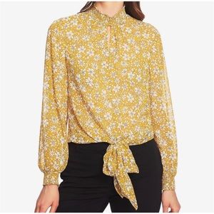 1.STATE Blouse Top Yellow Floral Long Sleeve SZXS